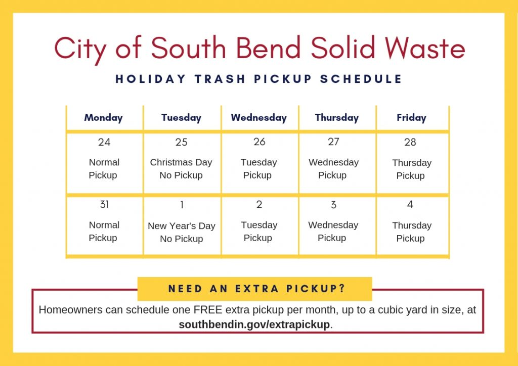 Trash Pickup Schedule Christmas 2020 City Announces Holiday Schedule for Trash Pickup
