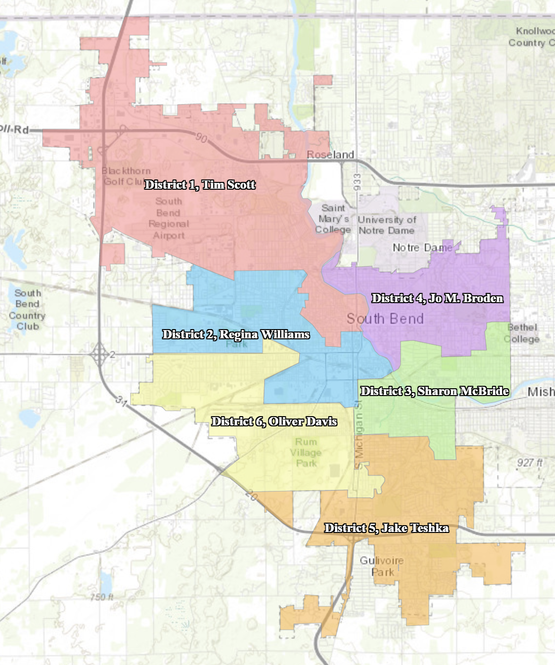 Map of South Bend's Common Council Districts