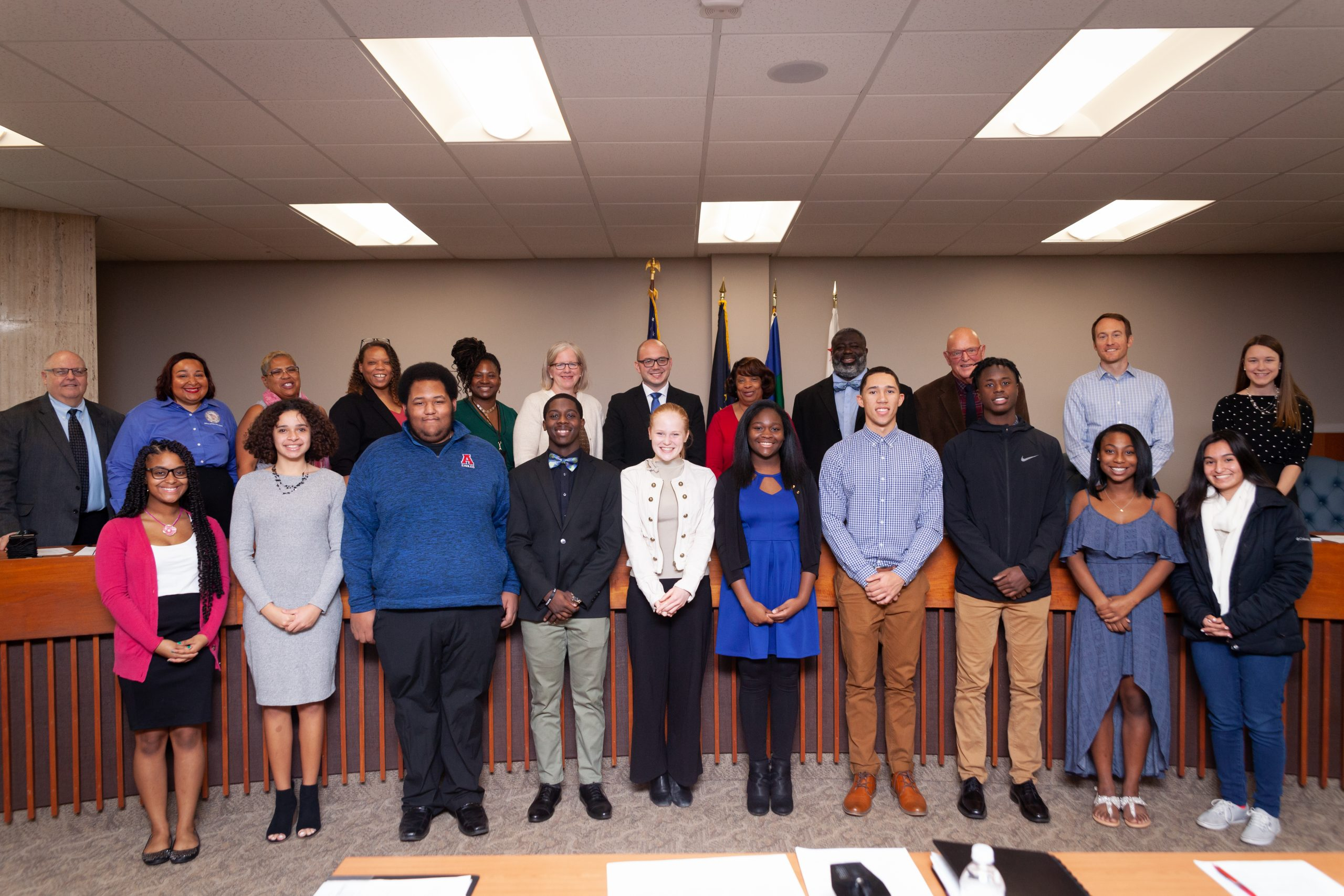 Members of the Youth Advisory Council pose with the South Bend Common Council