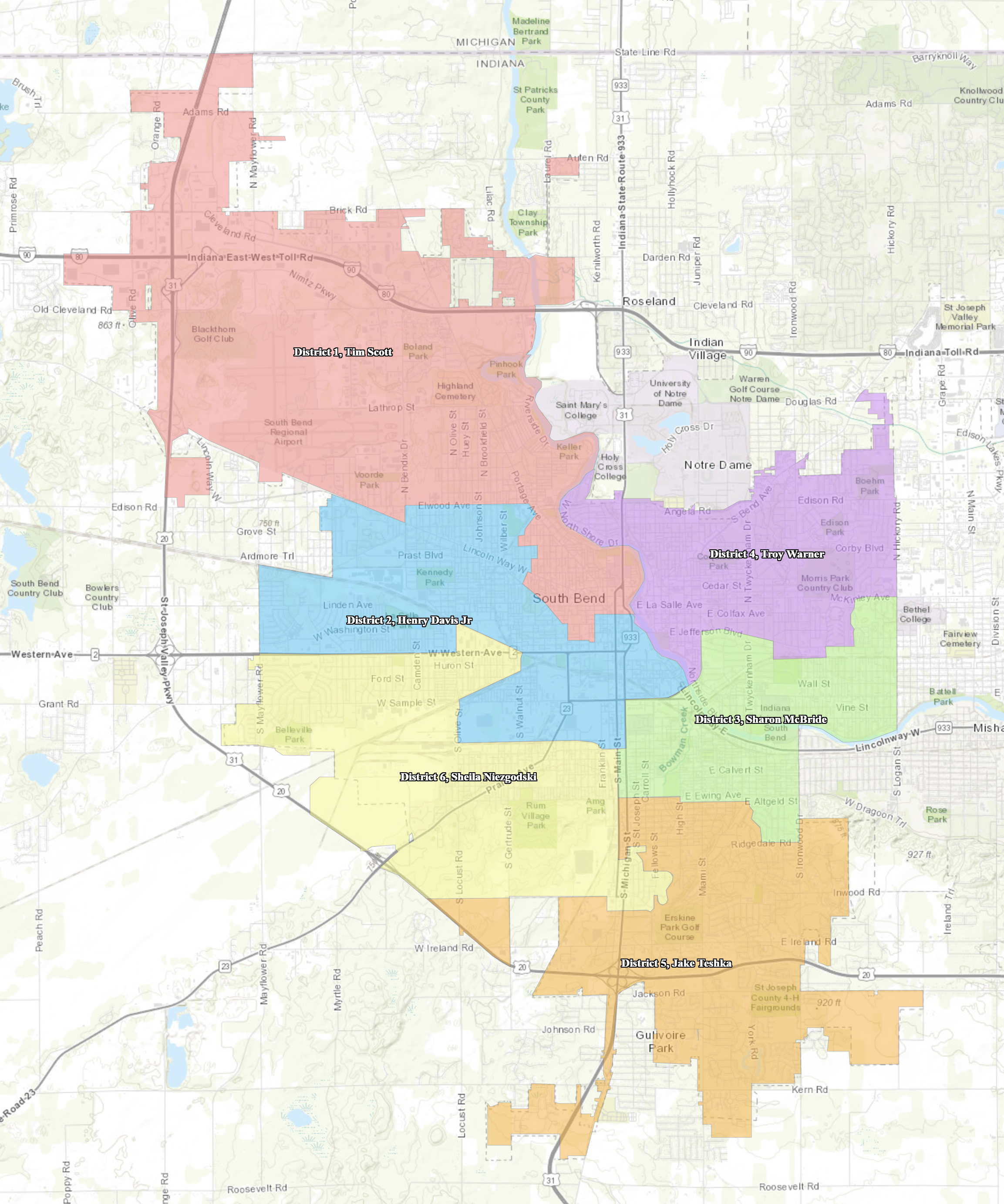 Council Districts for the City of South Bend